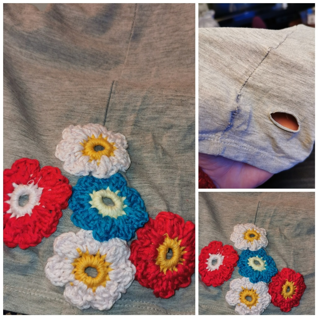 Crotchet flowers for mending emergencies